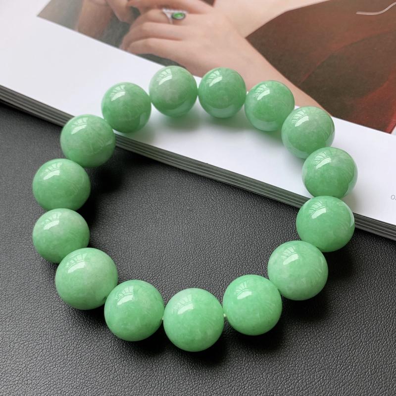 1001老坑精美水润满绿A货翡翠玉珠手链 共15颗玉珠