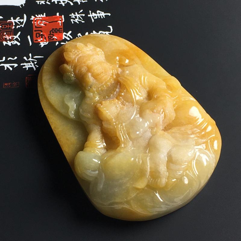 细豆种黄翡黄财神吊坠 尺寸63.5-44-12毫米 质地细腻 色彩艳丽 雕工精细