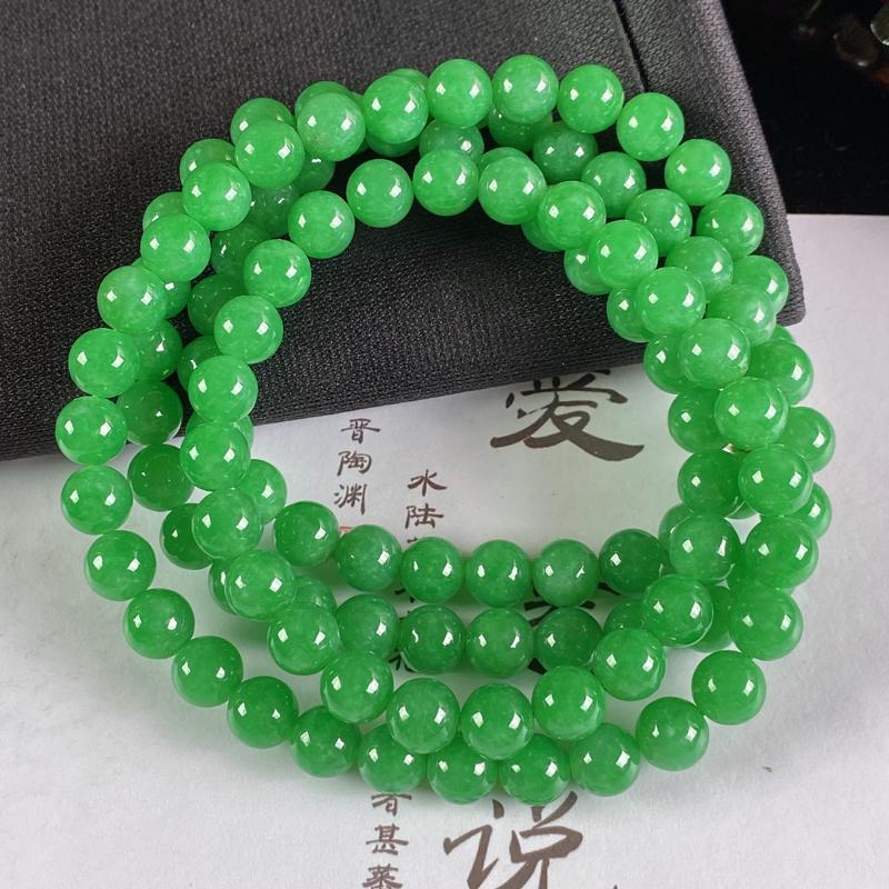 A货翡翠-种好满绿圆珠项链,尺寸-7.3mm