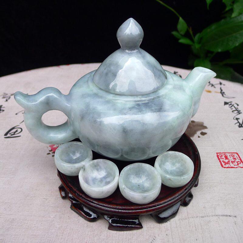 (鸿运当头),乌鸡种翡翠大茶壶套装摆件  ,雕工精美,线条简洁流畅,种水好,大茶壶尺寸148*175