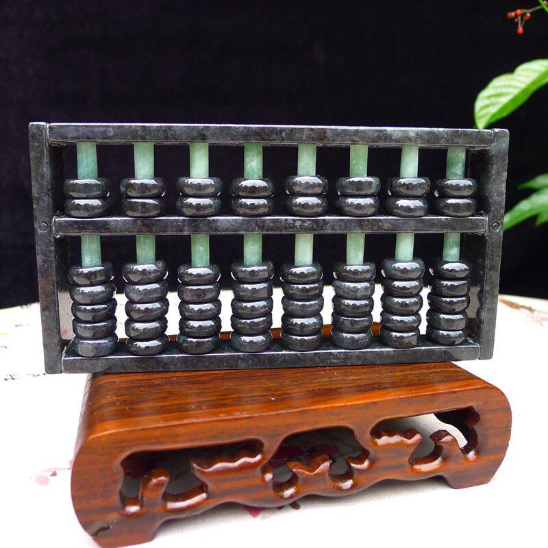 (财源滚滚)精打细算 翡翠乌鸡种算盘🧮小摆件 尺寸150*78*16mm ,特色双彩仿古,实用性强。