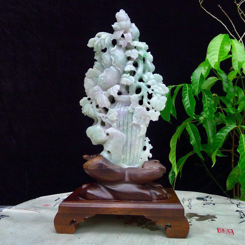 (富贵吉祥平安)天然翡翠老坑浅绿飘紫精雕花开富贵,平安富贵精品摆件 花瓶,盆景裸石尺寸265*155