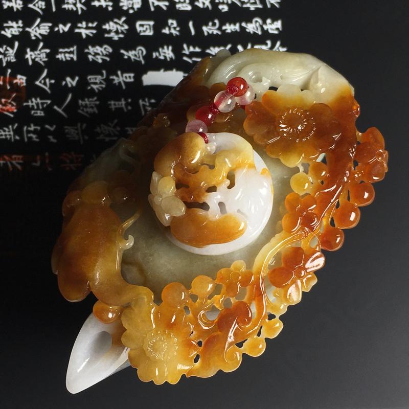 细糯种黄翡茶壶摆件 尺寸91-52-45毫米 水润细腻 雕工精湛 韵味浓郁