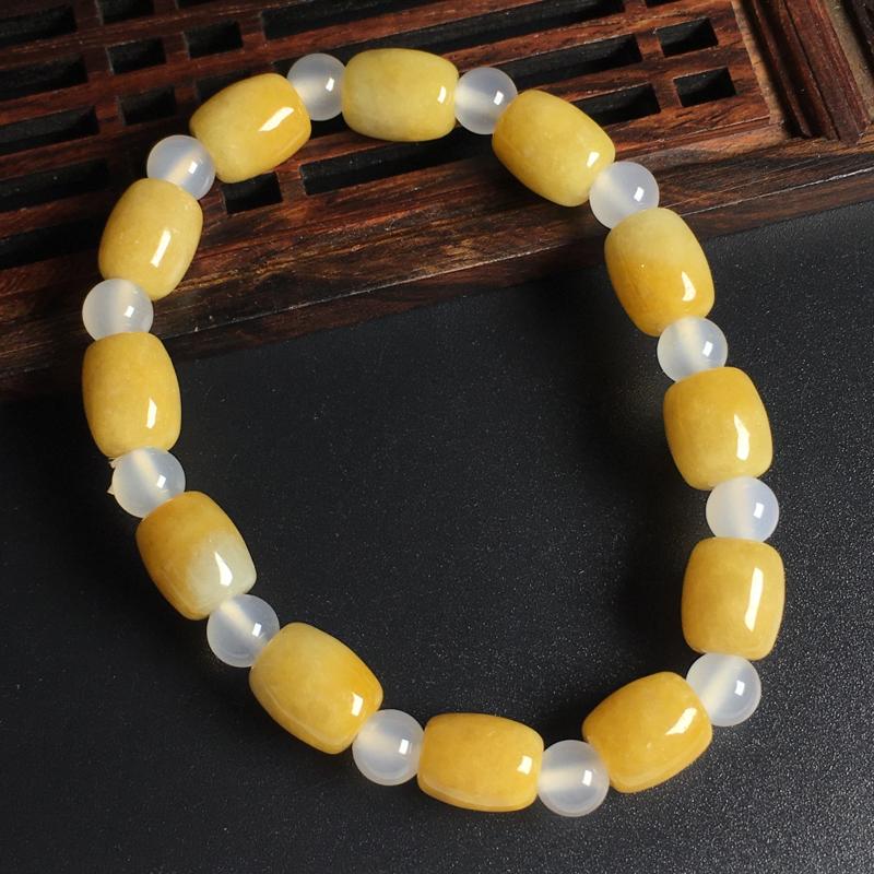 黄翡路路通手串  尺寸10-9毫米 色泽艳丽 玉质细腻 佩戴精美