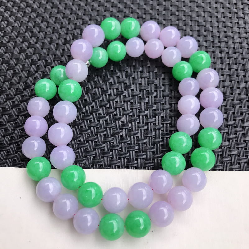 翡翠A货 糯种水润紫罗兰阳绿翡翠颗粒圆珠项链 尺寸12.2