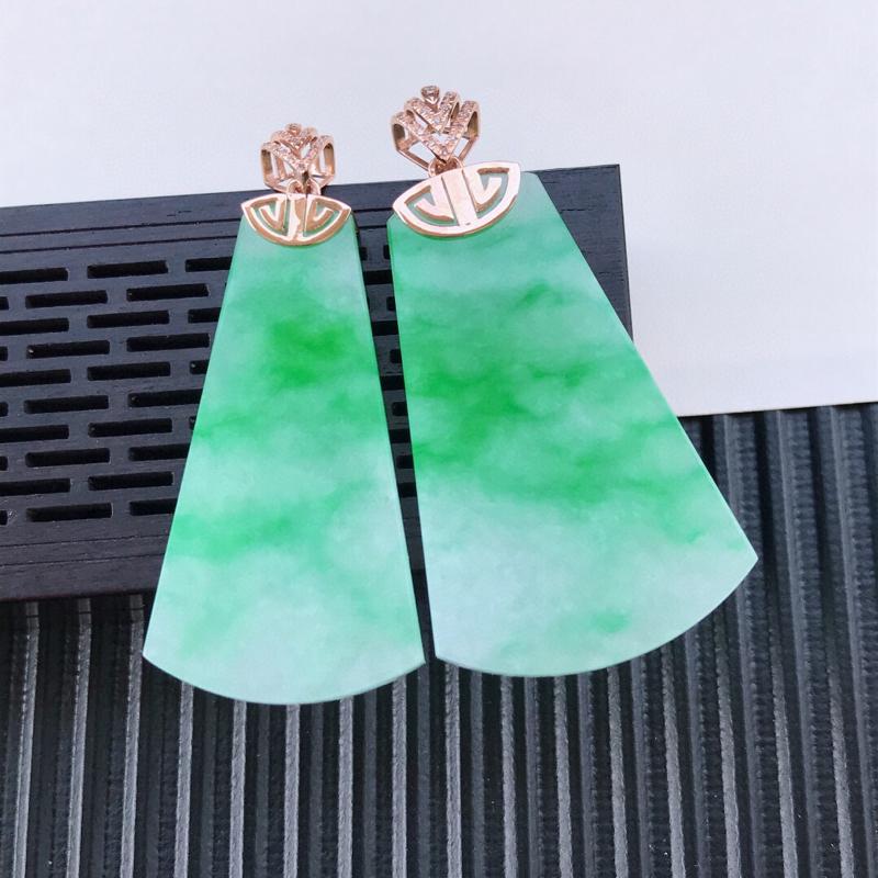 天然翡翠A货18K镶金伴钻糯化种飘绿素面牌吊坠 含金 50.2-25.5-5.2mm,裸石40.8-