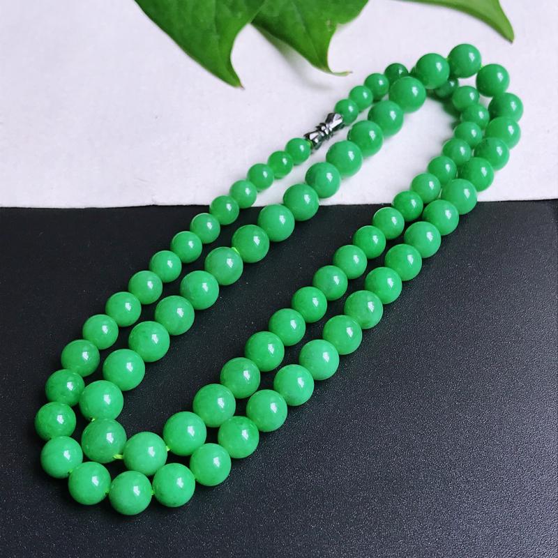 尺寸:8.6/6.3mm,天然A货翡翠圆珠项链,编号10.15-lian