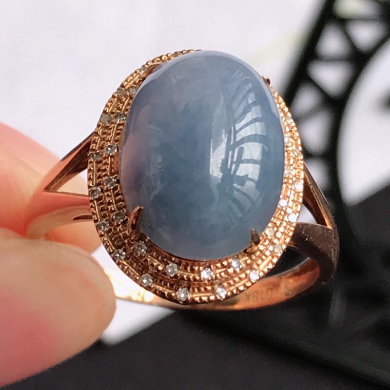 编号677翡翠A货紫罗兰18K金伴钻福气戒指,包金尺寸15.6*12.2*8.7mm,裸石尺寸12.