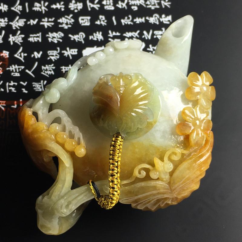 糯种黄翡茶壶摆件  尺寸89-64-36毫米 色彩亮丽 雕工精湛