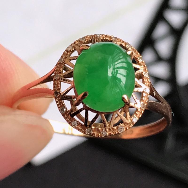 编号677翡翠A货满绿18K金伴钻福气戒指,包金尺寸11.1*9.9*6.8mm,裸石尺寸7.3*6