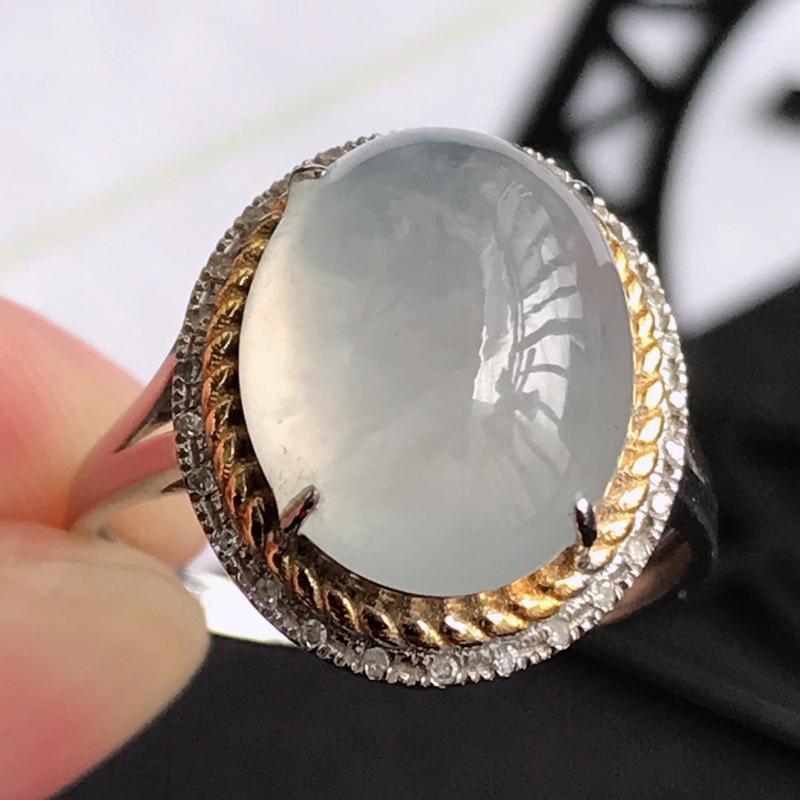 编号677翡翠A货种水好18K金伴钻福气戒指,包金尺寸15.7*13.4*8.8mm,裸石尺寸12.