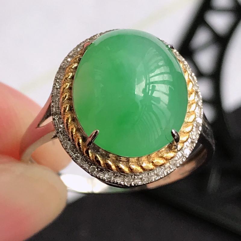 编号677翡翠A货满绿18K金伴钻福气戒指,包金尺寸14.3*12.9*8.3mm,裸石尺寸11.3