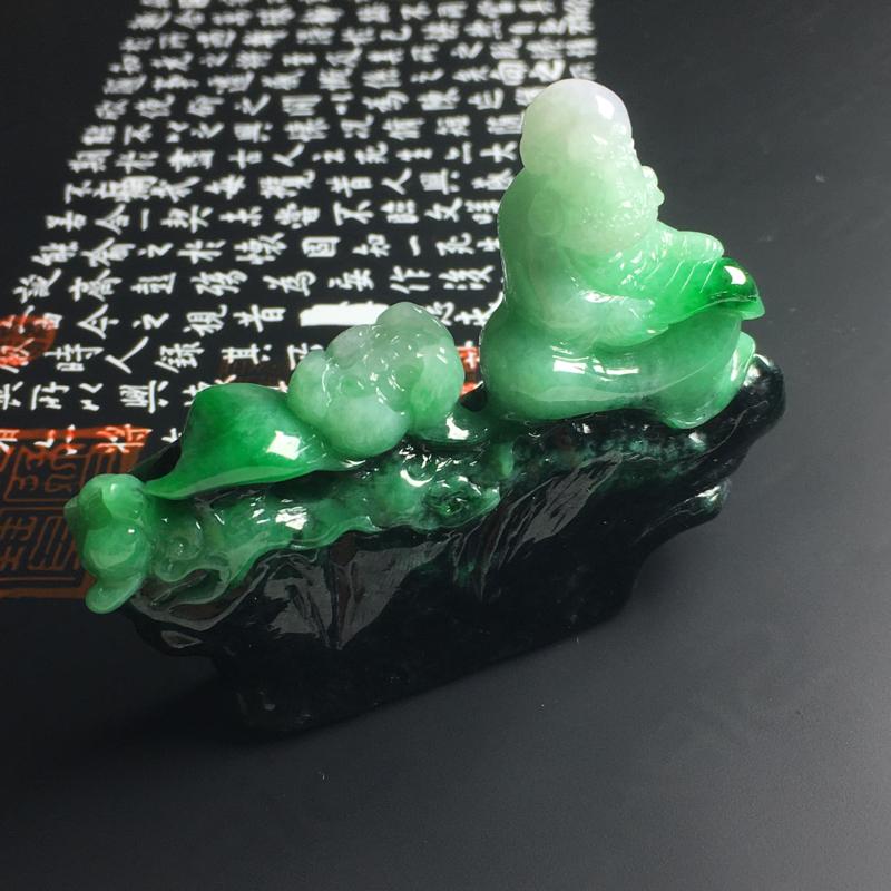 糯种带色达摩摆件  尺寸54-75-13毫米 色彩亮丽 雕工精湛