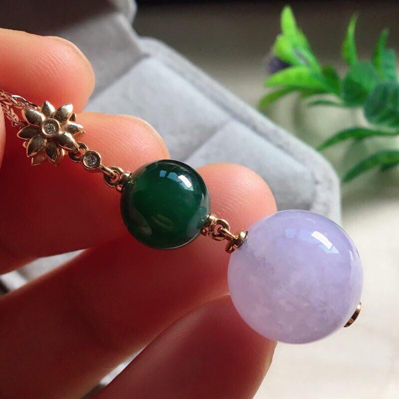 【红翡绿翠紫为贵,好漂亮的淡粉紫圆珠项坠,时来运转,财源滚滚,18K金伴钻镶嵌,尺寸41.9*14.2*9.6mm,耐看,送礼或自留佳选,值得拥有】图7