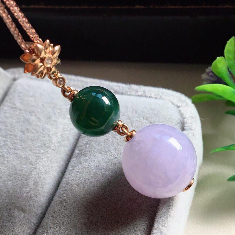 【红翡绿翠紫为贵,好漂亮的淡粉紫圆珠项坠,时来运转,财源滚滚,18K金伴钻镶嵌,尺寸41.9*14.2*9.6mm,耐看,送礼或自留佳选,值得拥有】图5