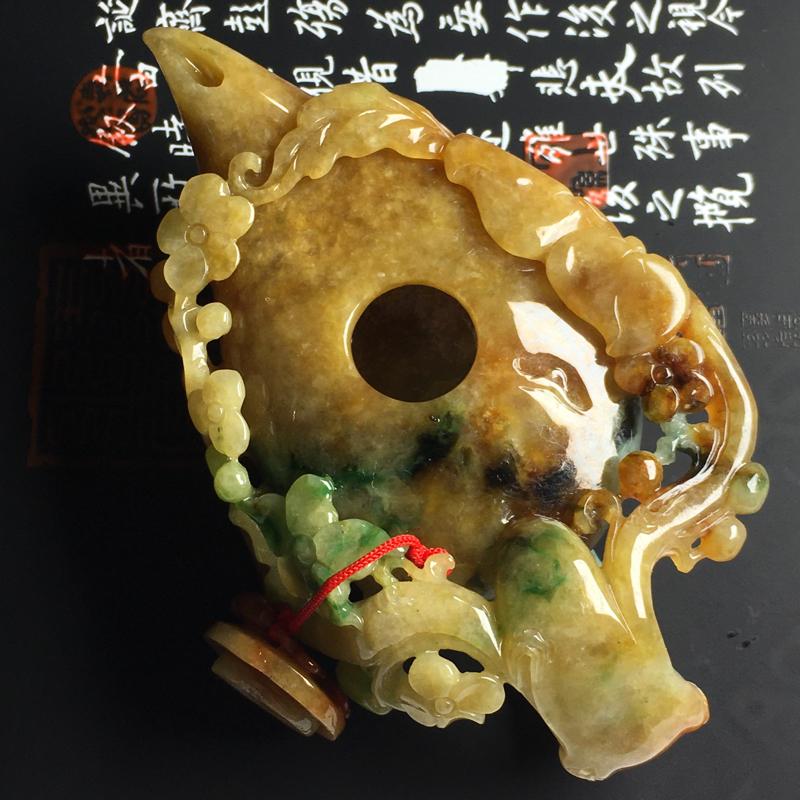 糯种双彩茶壶摆件  尺寸98-56-24毫米 色彩艳丽 雕工精湛