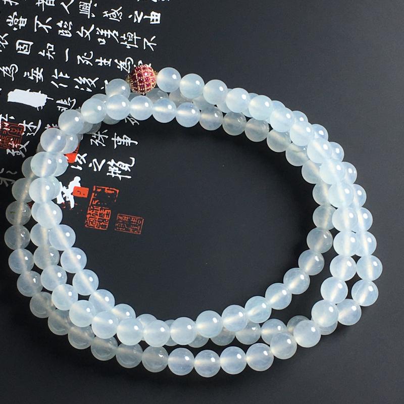 冰种珠链 108颗 直径6.5毫米 晶莹剔透 干净清爽
