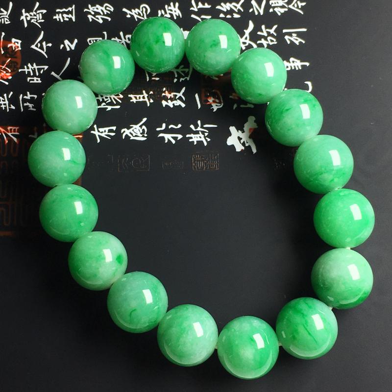 糯种带色佛珠手串 佛珠尺寸13毫米 玉质水润 色阳艳丽