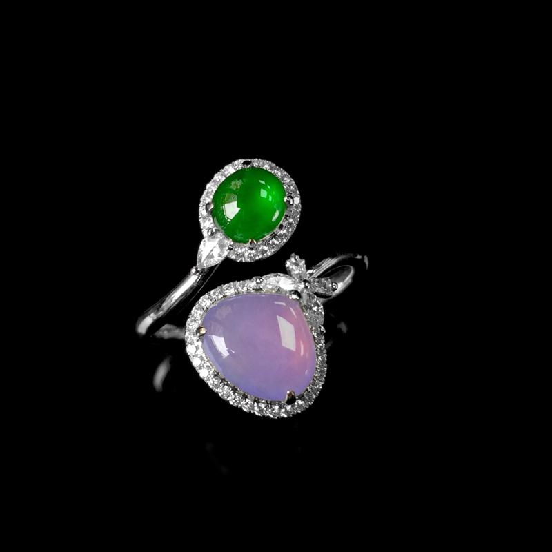 18K金镶翡翠戒指,紫石尺寸:7.8*8.5*6.5mm,绿石尺寸;5.5*5mm,圈口13.5