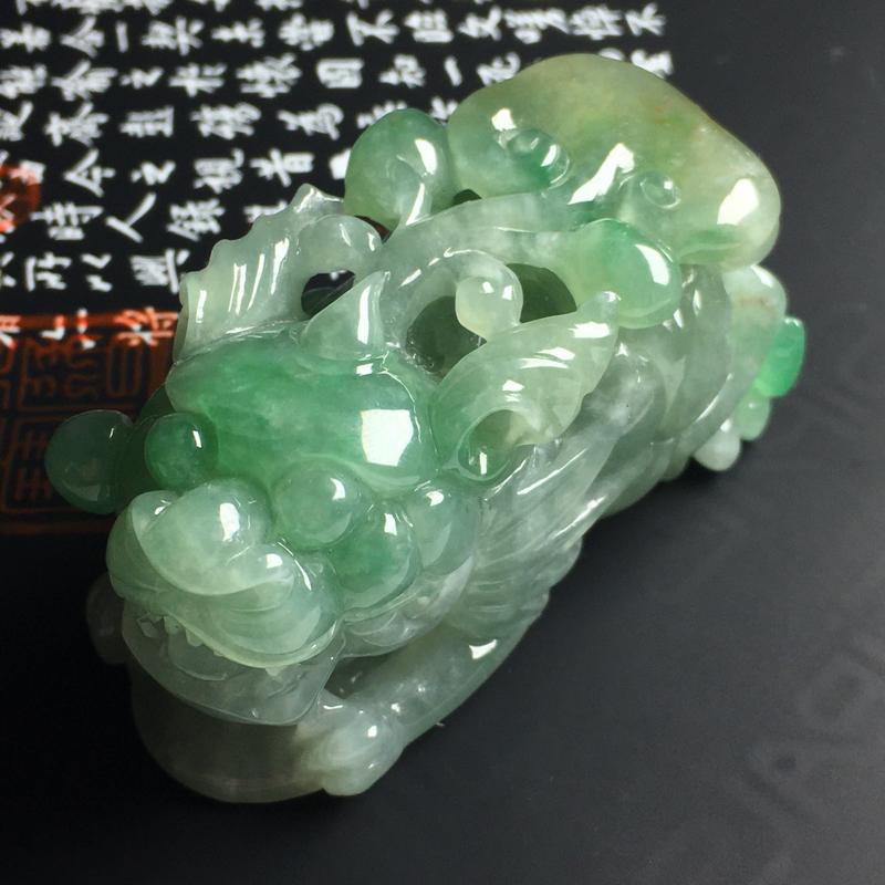 细糯种带色招财貔貅手玩件 尺寸68-37-31毫米 水润细腻 色彩亮丽 雕工精湛