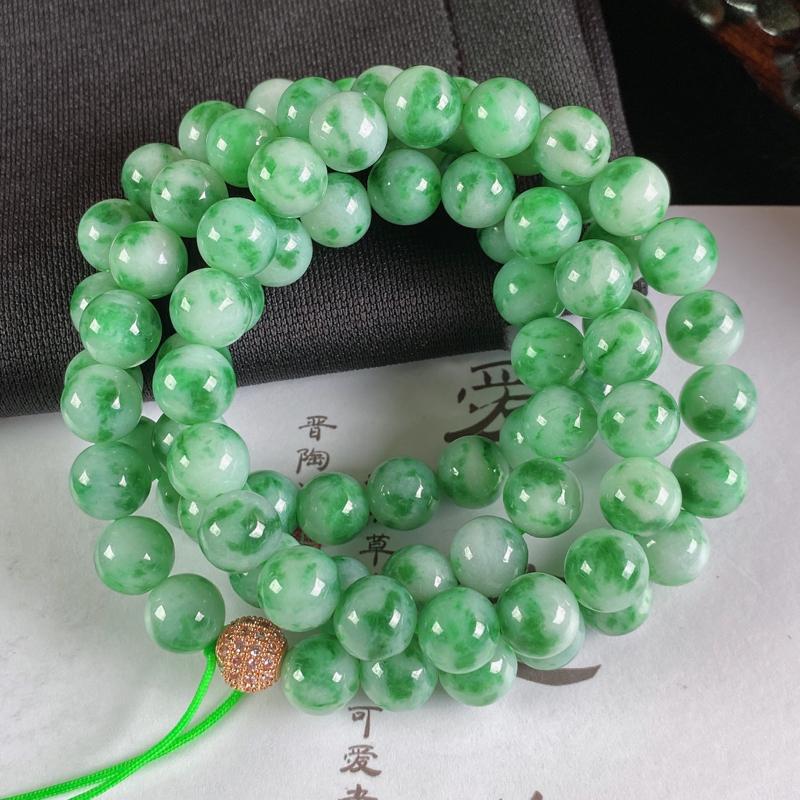 A货翡翠-种好飘花圆珠项链,尺寸-8.5mm