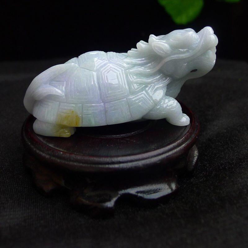 翡翠老坑水润精雕龙头龟小摆件 ,尺寸38*95*45mm,玉石重205.11克