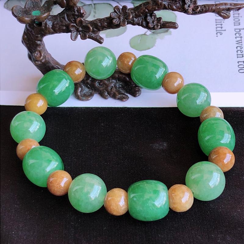 天然a货翡翠满绿路路通珠子手链,玉质细腻,水润,(黄色珠为翡翠材质)