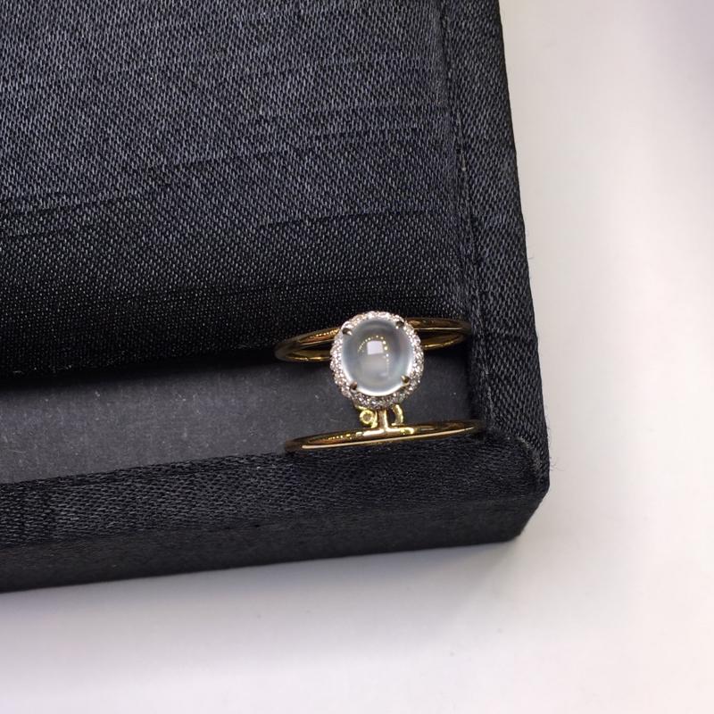 冰种戒指,底庄细腻,18K金南非真钻镶嵌,无纹裂,性价比高,推荐,尺寸6.5*6*4.6mm,重量3