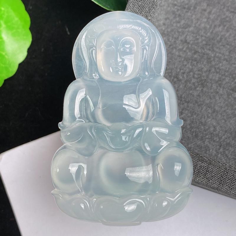 A货翡翠-种好冰润观音菩萨吊坠,尺寸-54.8*35.7*6.4mm
