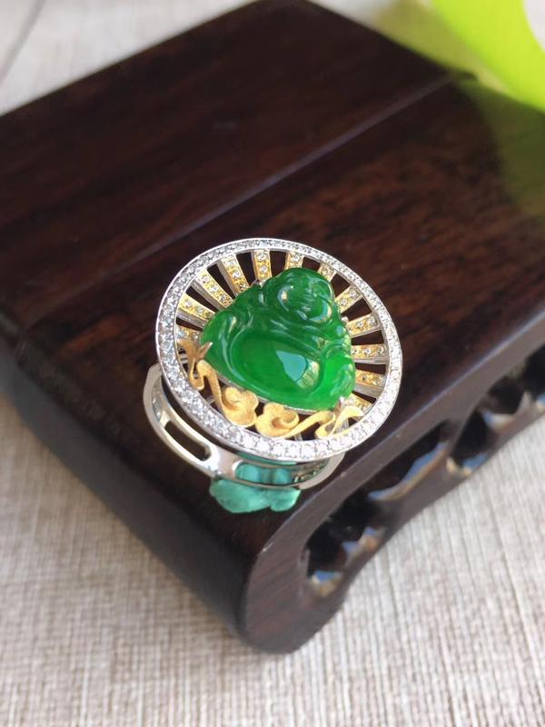 天然A货翡翠 18k金伴钻镶嵌老坑阳绿佛公戒指两用款吊坠 含金尺寸28.4-20.2-5.8mm