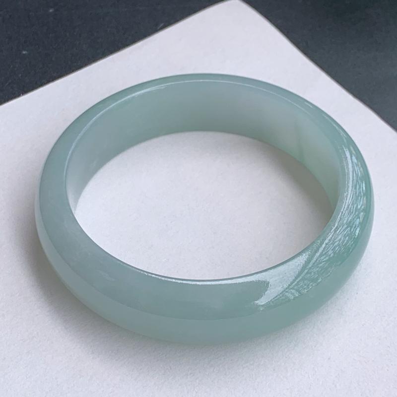 浅绿手镯、尺寸:55.7/15/8.3mm,A货翡翠浅绿宽边手镯、编号1023wx
