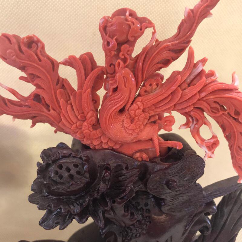 【天然无添加无优化珊瑚大摆件】天然无添加无优化,台湾产地莫莫材料,精雕凤凰大摆件,雕工精细,少白芯,