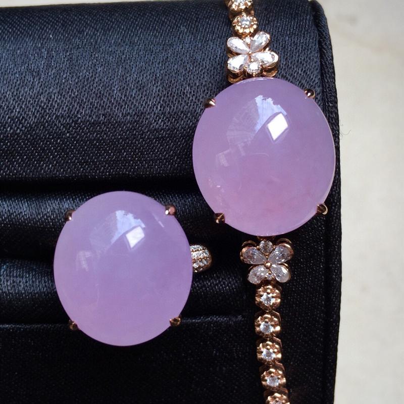 紫罗兰蛋面戒指手链,通透饱满 手链裸石17.8*16*7.5 戒指裸石16.5*14.8*7整体厚