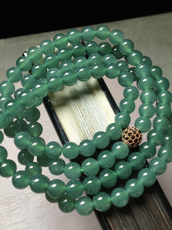 蓝水珠链,水润无裂,圆润,裸石尺寸6.7mm、108颗