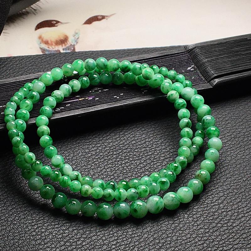 好漂亮的绿圆珠项链,圆珠尺寸3.3-4.2mm,可做项链手链两种戴法,非常大气,耐看,送礼或自留佳选,值得拥有