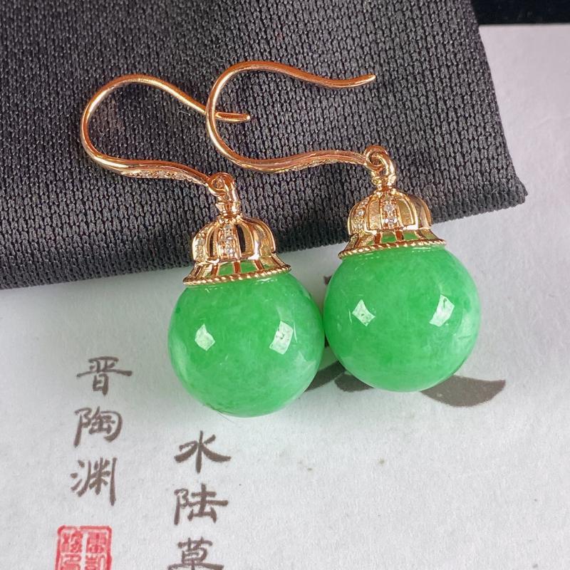 A货翡翠-种好满绿18K金伴钻圆珠耳坠,尺寸-裸石12.1mm整体32.1*12.1mm