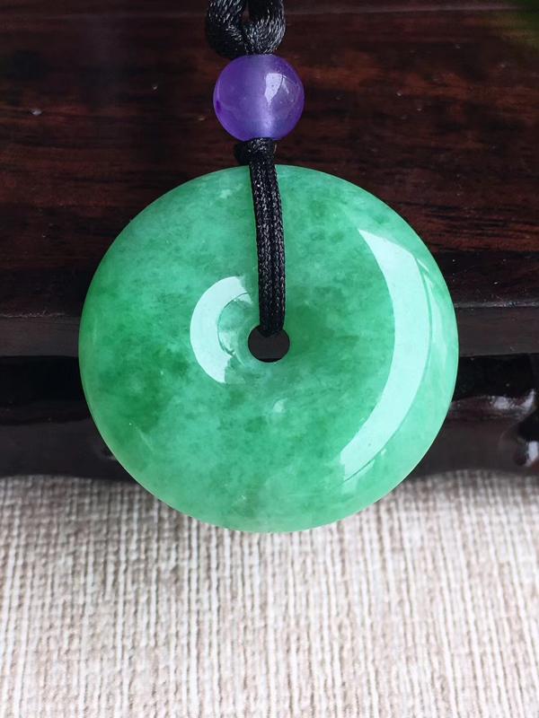 天然A货翡翠 老坑满绿平安扣吊坠 佩戴效果漂亮(顶珠工艺品)