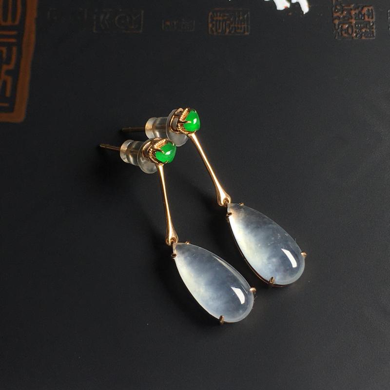 冰种水滴耳坠 18K金镶嵌 裸石尺寸23-7-4.5毫米 种好冰透 款式精美