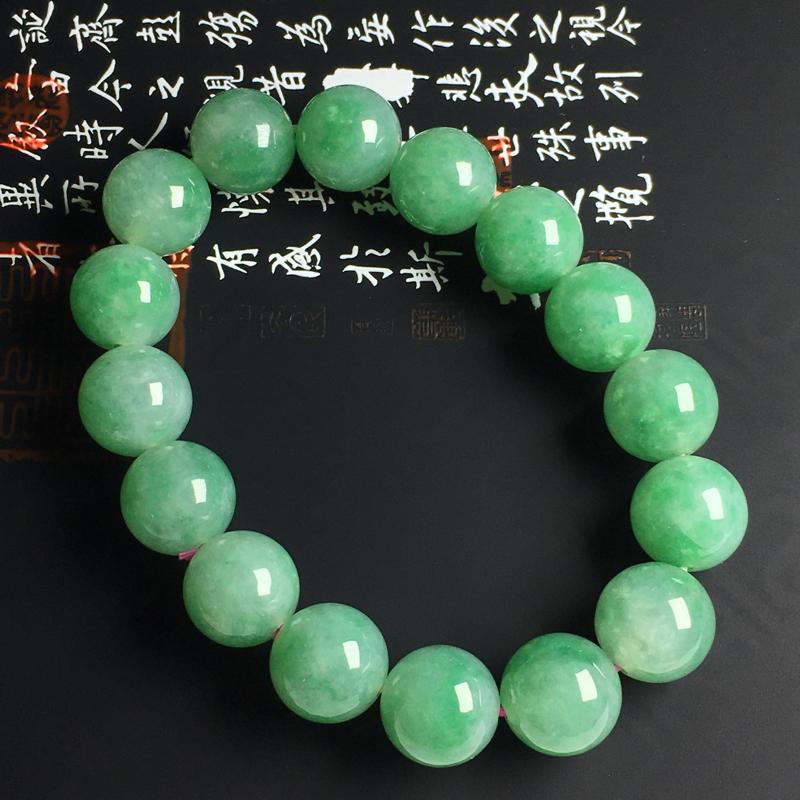 糯种带色佛珠手串 佛珠尺寸12毫米 玉质水润 色彩亮丽
