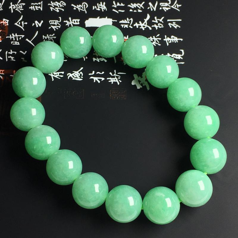糯种满色佛珠手串 佛珠尺寸13毫米 玉质水润 色彩亮丽