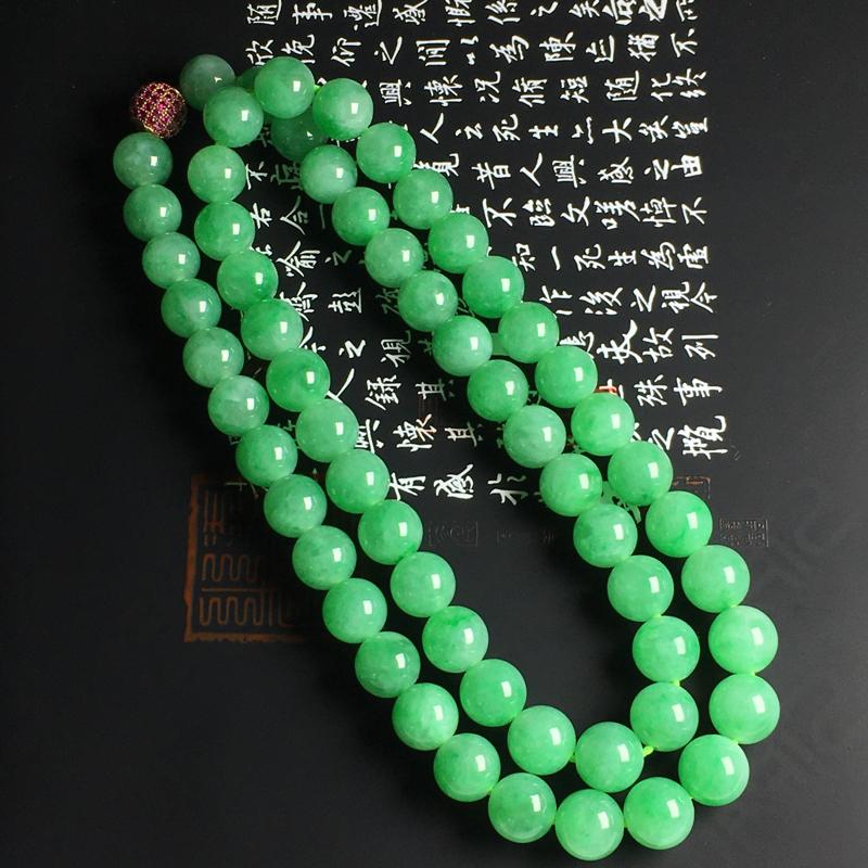 糯化种阳绿佛珠项链 佛珠尺寸11毫米 玉质水润 色样亮丽
