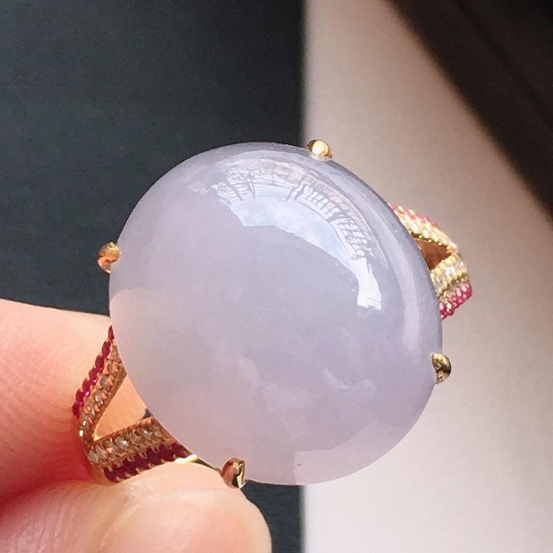 精品翡翠18k镶嵌伴钻戒指,玉质莹润,佩戴效果更美,尺寸:内径尺寸:17MM,裸石尺寸:15*13*