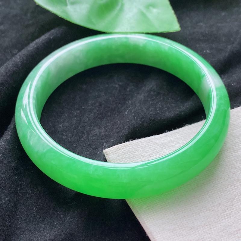 正圈:59.0mm 天然a货种水好满绿正圈翡翠手镯,圈口:59.0/12.8/7.9mm