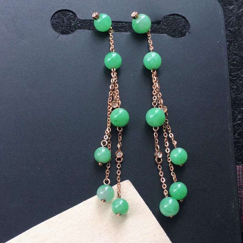 18K金伴钻镶嵌翡翠满绿圆珠耳坠,种水好玉质细腻温润,颜色漂亮。耳坠长:60.2mm