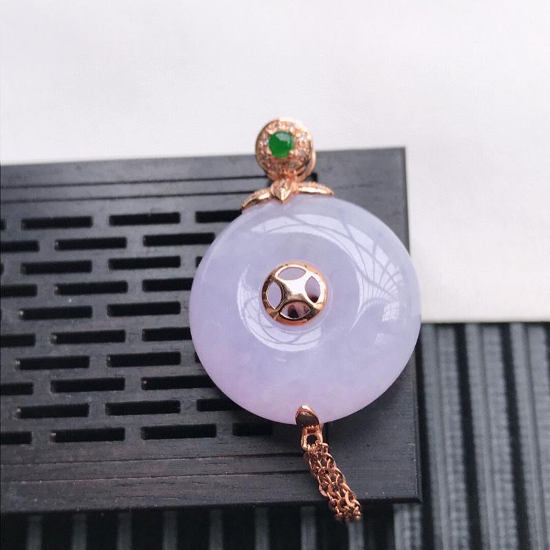 天然翡翠A货18K镶金伴钻糯化种紫罗兰平安扣吊坠 含金 44.3-20.5-10mm,裸石20.5-