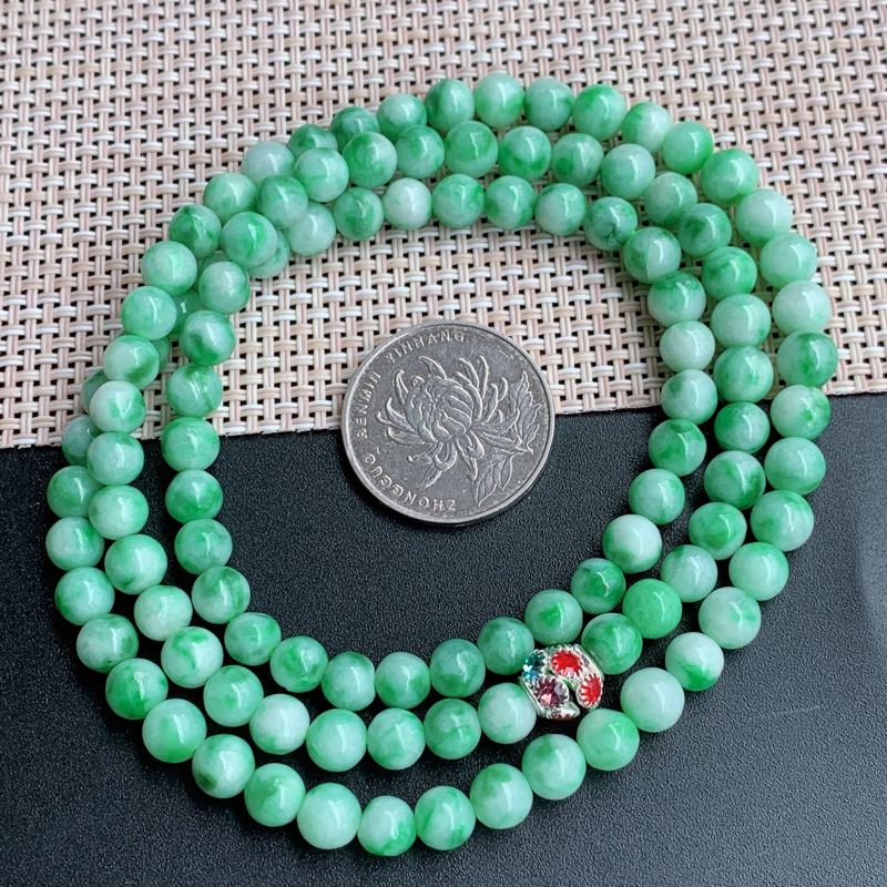 飘花项链、尺寸:108颗6.4mm,A货翡翠飘花圆珠项链、编号1030