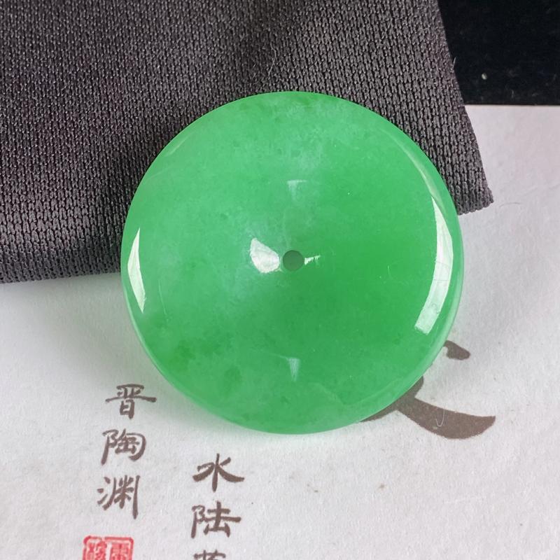 A货翡翠-种好满绿平安扣吊坠,尺寸-31*5.5mm
