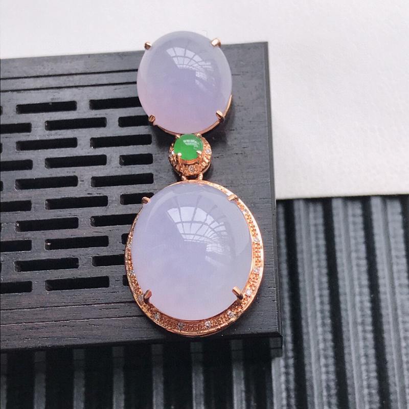 天然翡翠A货18K镶金伴钻糯化种紫罗兰两合为一吊坠 含金 33.4-14.6-10.8mm,裸石13