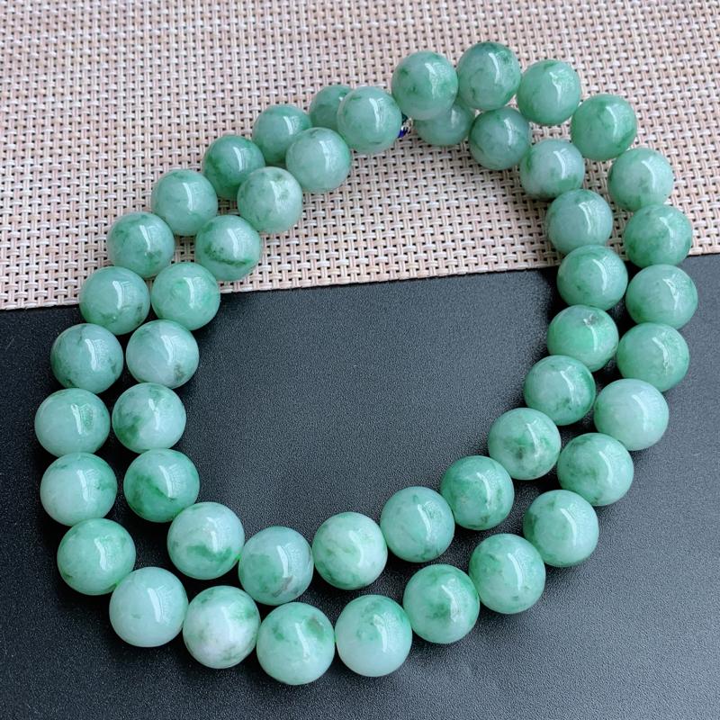 飘花项链、尺寸:48颗13.4mm,A货翡翠飘花大圆珠项链、编号1030