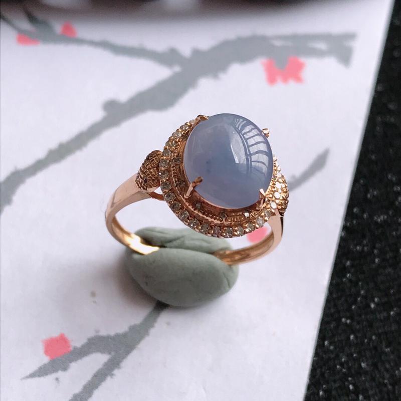 紫罗兰18k金伴钻福气戒指,翡翠A货,包金尺寸:12.3*11.4*8.5mm,裸石尺寸:9*8*3